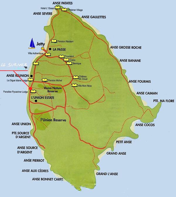 Location of Le Sur Mer Self Catering Guest House La Digue Seychelles